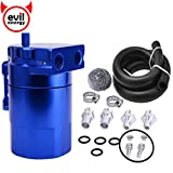 "EVIL ENERGY Baffled Universal Oil Catch Can Reservoir Tank Kit with 3/8"" NBR Fuel Line and Steel Wool Aluminum Blue 400ml"