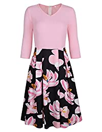 FEOYA Women's Church Dress Vintage Dress Skirt with Pockets Floral Swing Midi Dress