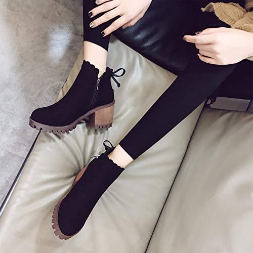 et tête hauts sont dérapantes noir chaudes chaussures boots bottes automne hiver talons anti ronde à Qpggp XwA7pIqx