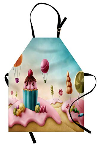 (Lunarable Retro Apron, Fantasy Candyland with Cupcake Bonbon Lollipops Food Fairytale Delicious Sweets, Unisex Kitchen Bib Apron with Adjustable Neck for Cooking Baking Gardening,)
