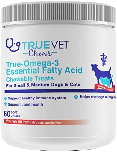True-Omega-3 Essential Fatty Acid Chewable Treats for Dogs - All Natural Fish Oil Pet Food Supplement - Shiny Coats Healthy Skin - Bone, Joint Brain Support
