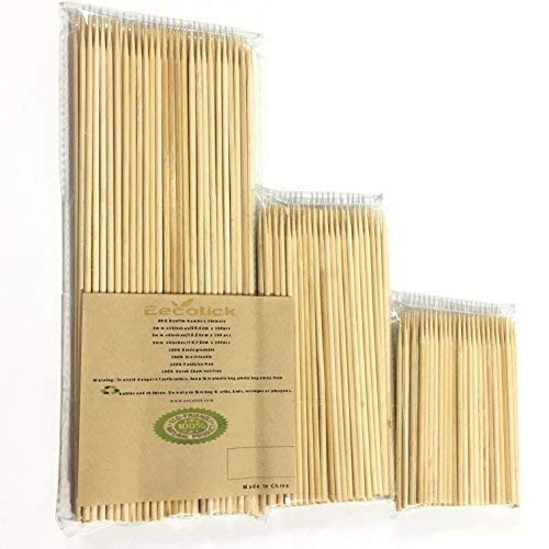 Eecotick Bamboo Skewers 6 inches(15.24cm)+4 inches(10.16cm)+10 inches (25.4cm), Set of 300, 100 Pieces per Pack,3 mm Thick, no Splinter nor Flimsy, Great for shish-kabobs, Seafood and All Grilling