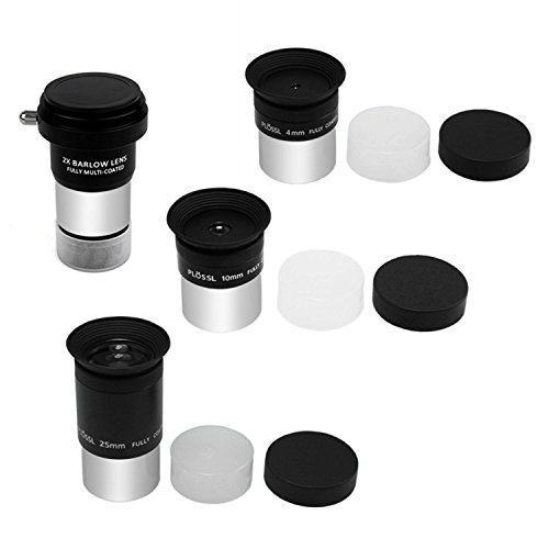 Astromania Multi coated 1.25-Inch Plossl Eyepieces(4mm, 10mm, 25mm) with 2x Barlow Astronomical Telescope Accessory Kit - let you get the most out and enhances the performance of your telescope by Astromania