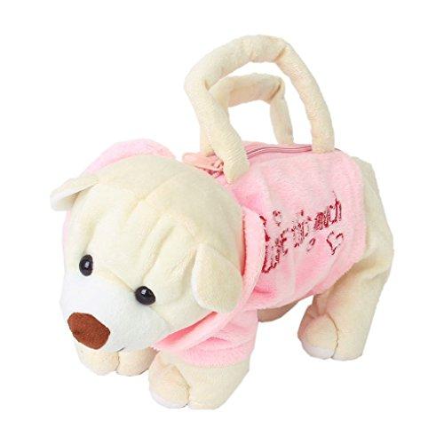 TOOGOO(R) Carino Orso -Figura peluche borsa per i bambini - Rosa e Beige