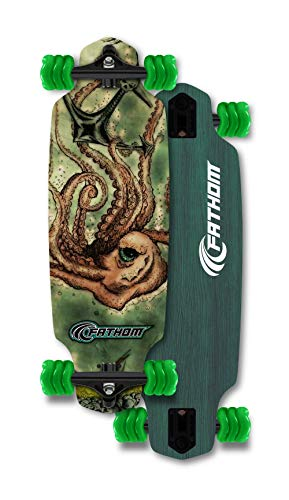 (Fathom by Shark Wheel Kraken Mini Drop Longboard Skateboard Complete, Teal)