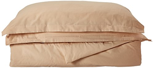 Maghso QD400B 400 Thread Count Queen Size 3PC Duvet Cover Set 100% Egyptian Cotton with Button Enclosure, Beige