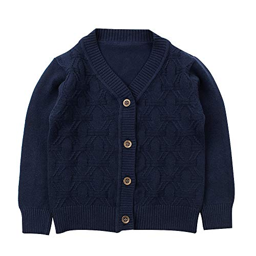 Baby Boy Cardigan Infant Toddler Crochet Sweater VNeckButton UpKnitted Pattern Pullover Sweatshirt Spring 1T Navy
