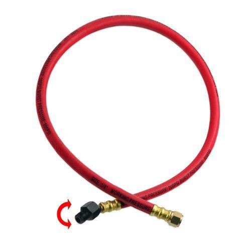 Heavy- Duty Rubber Air Whip Hose Swivel & Rotate Ball Fitting 1/4