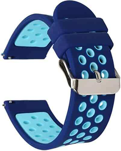 Universal 18mm 20mm 22mm 24mm Width Silicone Watch Band Replacement (20mm, Blue)