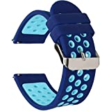 Universal 18mm 20mm 22mm 24mm Width Silicone Watch Band Replacement (22mm, Blue)