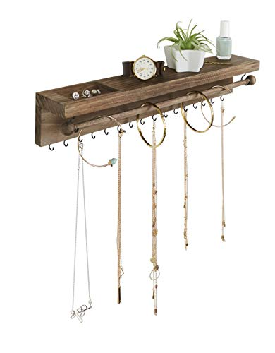 SoCal Buttercup Rustic Jewelry Organizer Wall Mounted - Hanging Necklace Holder - Wall Mounted Jewelry Hanger - Farmhouse Wood Jewelry Display - Storage for Necklaces, Bracelets, and Stud Earrings