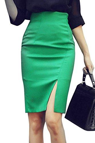 Nimpansa La Jupe Crayon Solide Taille Haute des Mini Courte Jupe Green