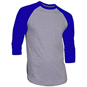 Hat and Beyond DR Raglan 3/4 Sleeve T-Shirts Baseball Fit Plain Mens Womens Jersey 5oz (X-Large, Gray/Royal Blue)