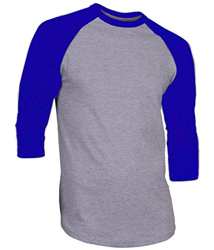 - Hat and Beyond Mens Raglan 3/4 Sleeve T-Shirts Baseball Fit Plain Mens Womens Jersey 5oz (Large, 1RD3401 Gray/Royal Blue)