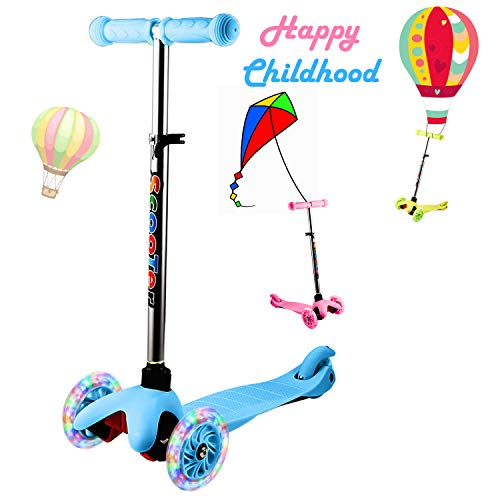 YUEBO Kick Scooter for Toddlers & Kids/Non-Batteries LED Light Up Scooter/ 3 Wheels Height...