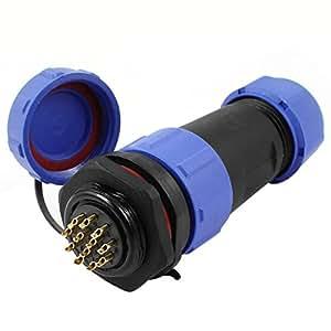 21mm Agujero 12 pines del enchufe a prueba de agua Glándula de cable conector de Aviación w Cap