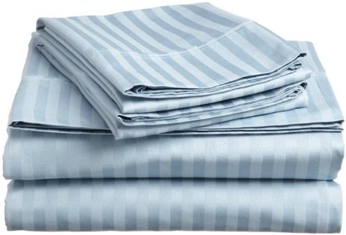 400 Thread Count Luxurious 100% Egyptian Cotton Sheet Set of 4 Pcs Short Queen Size 60x75 (1 Fitted sheet,1 Flat Sheet, 2 Pillows covers) for Camper/RV by Rajlinen (Light Blue (Stripes Fitted Sheet)
