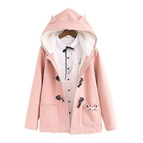 donna cappottini stile invernale cappuccio b Rosa corno bottoni corto outwear Cappotto da Packitcute cappuccio giacche in con xwqXTPIPE
