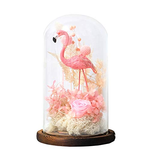 (Snowkingdom Pink Flamingo Glass Dome Home Decor LED Light with Preserved Fresh Flower on a Wooden Base)
