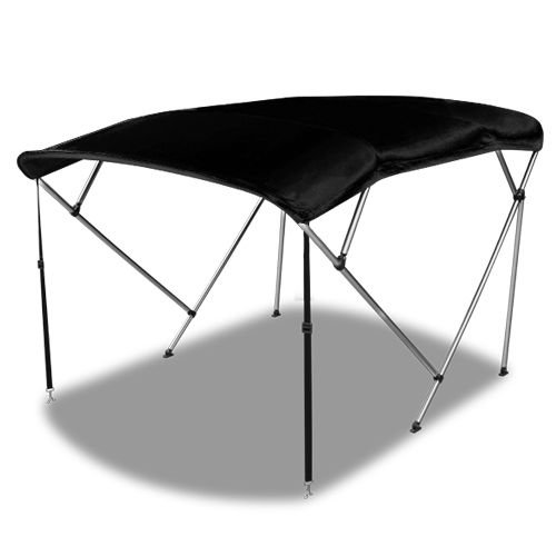 Hex Autoparts 4 Bow 6 Different Size Bimini Top Boat Cover with Rear Poles and Integrated Sock (Black, 4 Bow 8'L x 54