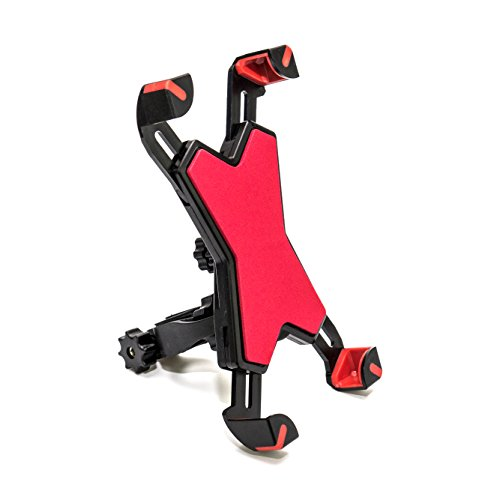 MaxMiles Bike Mount Bicycle Holder Universal Cell Phone Adjustable Mountain Rotating Mount Handlebar Cradle Clamp For iPhone 6s 6 5s 5c 5 Other Smartphones, GPS Devices (Red)