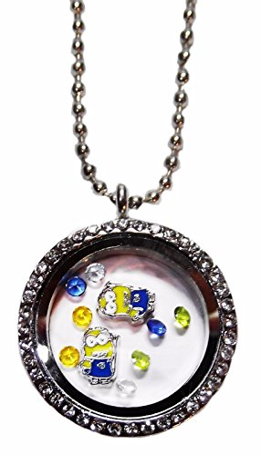 Despicable Me MINIONS Round Crystal FLOATING CHARMS LOCKET Necklace -