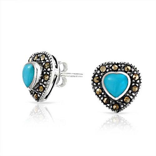Stabilized Turquoise Marcasite Halo Heart Shape Stud Earrings Oxidized 925 Sterling Silver December Birthstone - Marcasite Heart Shape