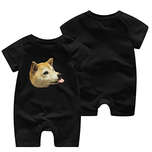 Doge Dog Head Baby Babys Baby'S Short Sleeve Jumpsuit Coverall Cotton Soft Clothes
