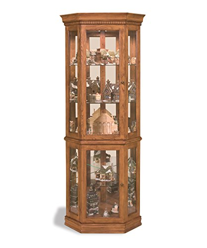 Philip Reinisch Philip Refinish Co. Lighthouse Classic Oak Corner Curio Cabinet, Old Oak Finish