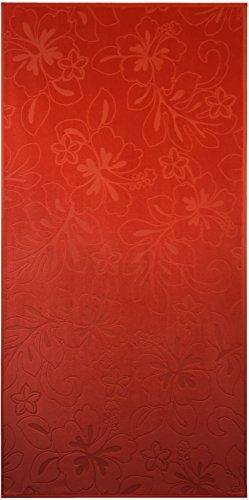 Orange Hibiscus Velour Jacquard Brazilian Beach Towel 30x60