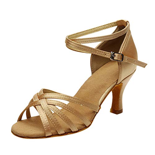 Women Professional Latin Dance Shoes Rumba Waltz Prom Ballroom Latin Salsa Dance Sandals Shoes 2.8'' High Heel Khaki