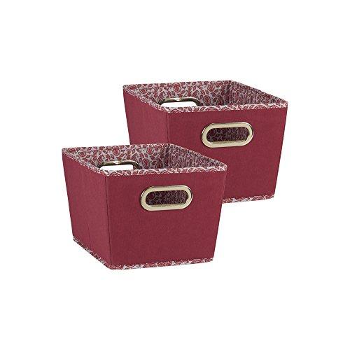 Household Essentials Small Tapered Decorative Storage Bins, 2 pc Set, Red, - Storage Burgundy