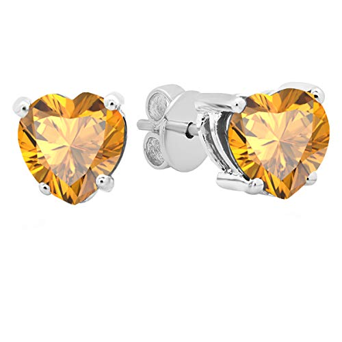 - Dazzlingrock Collection 18K 5 MM Each Heart Citrine Ladies Stud Earrings, White Gold
