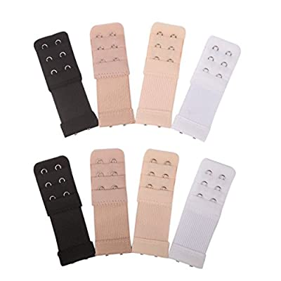 Senkary 8 Pieces Bra Extenders 2 Hook 3 Row Elastic Bra Strap Extension for Women Lady