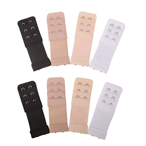 Senkary 8 Pieces Bra Extenders 2 Hook 3 Row Elastic Bra Strap Extension for Women Lady, 4 (Two Piece Bra)