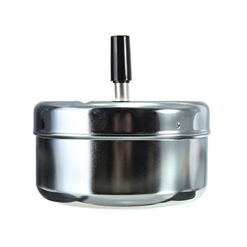 GANGER Metal Spinning Cigarette Ashtray For Home Office Bar And Restaurant Smoke Ash Tray Holder Silver - Evil Pipe Kit