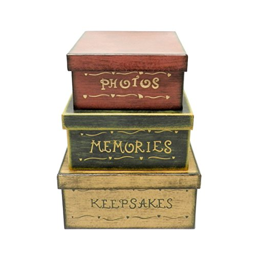CVHOMEDECO. Primitive Vintage Square Photos, Memories, Keepsakes Cardboard Nesting Boxes, 9