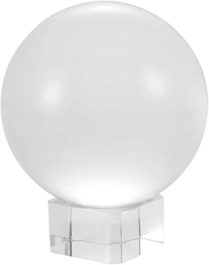 Clear Crystal Glass Ball Sphere Photography Prop Decoration Photosphere with Glass Crystal Stand 3.15//80MM