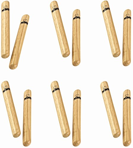 - Nino Kids' Kids' Wood Clave Set with 6 (Get 1 Pair Free) -NOT Made in China-for Classroom Percussion Music or Playing at Home, 2-Year Warranty (NINO502-6)