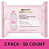 Garnier SkinActive Micellar Makeup Remover Wipes, 25 Count (Pack of 2)