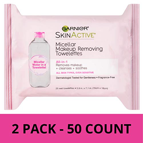 (Garnier SkinActive Micellar Makeup Remover Wipes, 25 Count (Pack of 2))