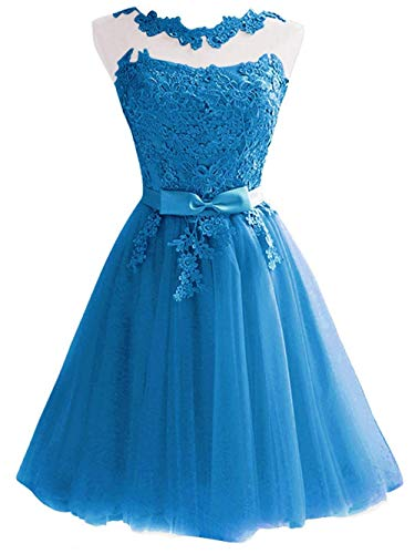 Jaeden Azul De Vestido Novia Baile Dama Corto Noche Honor rrB8wq