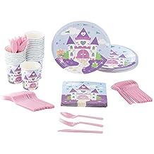 Disposable Dinnerware Set - Serves 24 - Princess Party Supplies for Kids Birthdays, Purple Castle Design, Includes Plastic Knives, Spoons, Forks, Paper Plates, Napkins, Cups