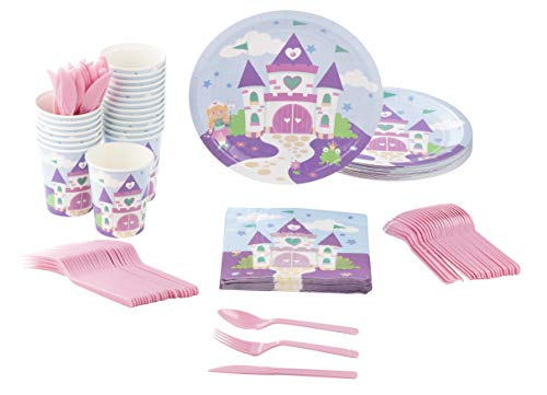 (Disposable Dinnerware Set - Serves 24 - Princess Party Supplies for Kids Birthdays, Purple Castle Design, Includes Plastic Knives, Spoons, Forks, Paper Plates, Napkins,)