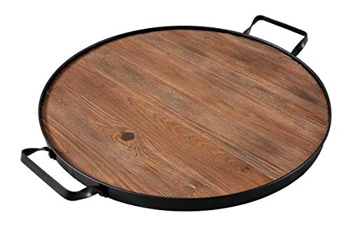 (Thirteen Chefs Farmhouse Wine Barrel Top Serving Tray, Round Wood Platter with Iron Handles)