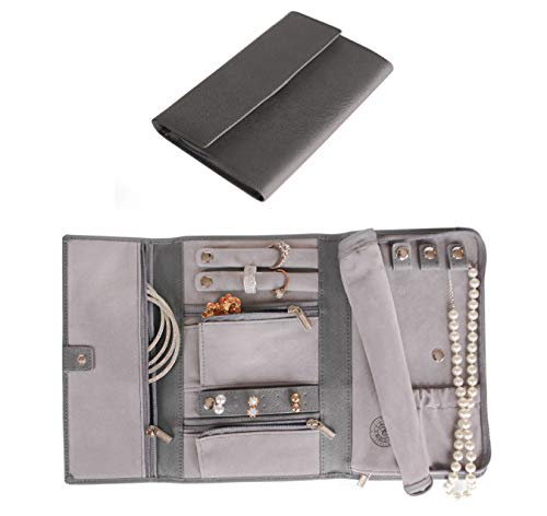 Saffiano Leather Travel Jewelry Case - Jewelry Organizer by Case Elegance (Roll Jewelry Leather)
