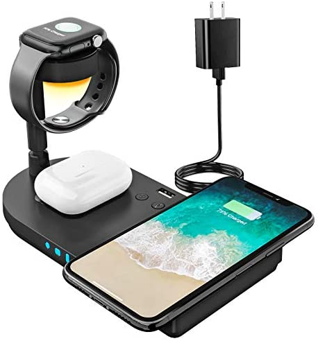 Upgraded Wireless Charging Station, 4 in 1 Qi-Certified 15W Fast Charging Dock with Bedside Lamp, Compatible for iPhone 12/11 Series, AirPods, Apple Watch Series SE/6/5/4/3/2/1 (Black)