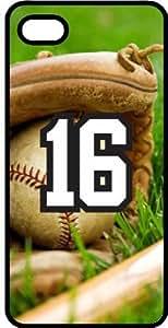 Baseball Sports Fan Player Number 16 Black Plastic Decorative iPhone 6 PLUS Case