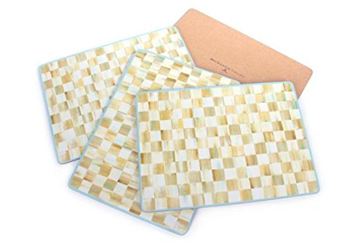 MacKenzie-Childs Parchment Check Cork Back Placemats - Set of 4
