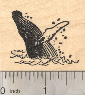 Humpback Whale Rubber Stamp, Whale Breaching Water